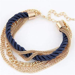 Fashionable Rope Chain Decoration Bracelet - blue - Charm Bracelets