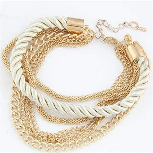 Fashionable Rope Chain Decoration Bracelet - white - Charm Bracelets