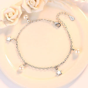 Five-pointed star freshwater pearl Silver bracelet - Chain & Link Bracelets