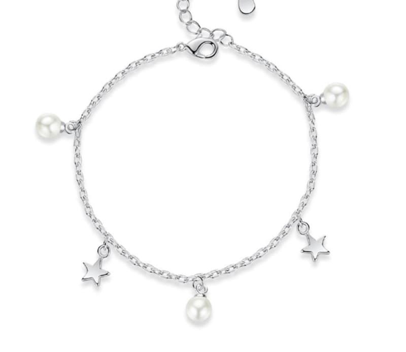 Five-pointed star freshwater pearl Silver bracelet - 16.8-4 - Chain & Link Bracelets