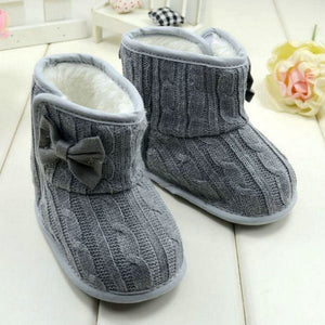 Fleece Lined Boots For Girls - Gray / 0-6 Months - First Walkers