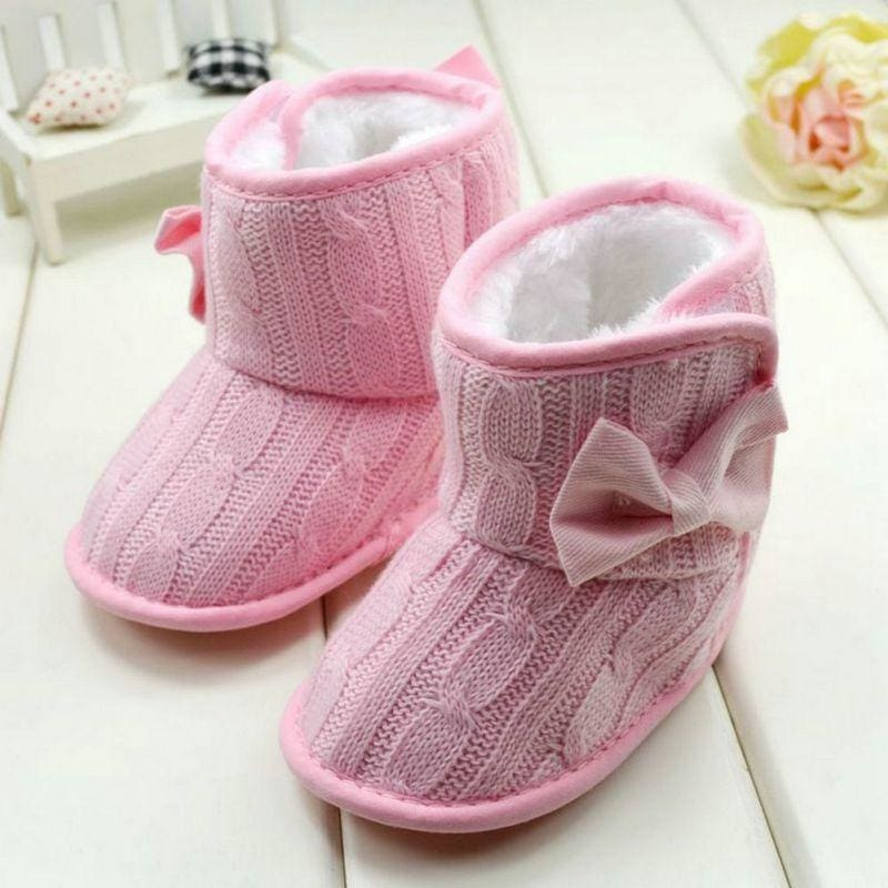 Fleece Lined Boots For Girls - Pink / 0-6 Months - First Walkers