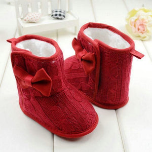 Fleece Lined Boots For Girls - Red / 0-6 Months - First Walkers