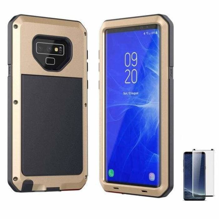 Glass Film+ Full Protective luxury doom armor Case Metal Case Samsung - Gold / for Samsung S8 - Fitted Cases