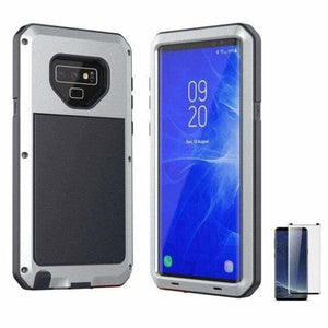 Glass Film+ Full Protective luxury doom armor Case Metal Case Samsung - Silver / for Samsung S8 - Fitted Cases