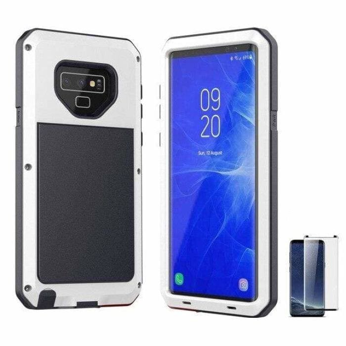 Glass Film+ Full Protective luxury doom armor Case Metal Case Samsung - White / for Samsung S8 - Fitted Cases