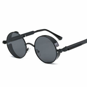 Gothic Steampunk Round Metal Sunglasses for Unisex - 6631 black f grey - Sunglasses