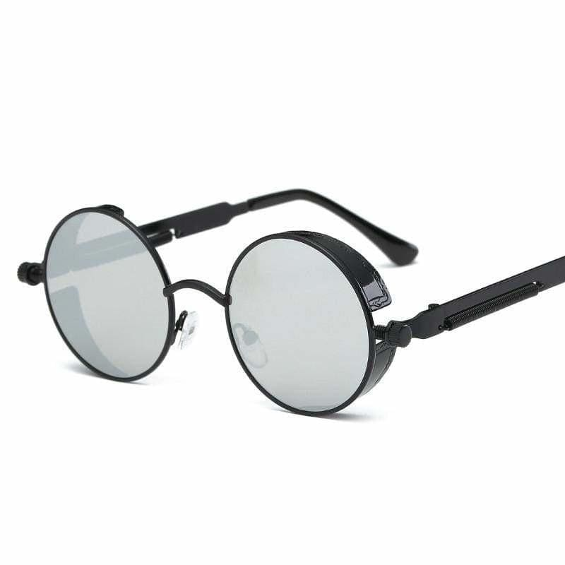 Gothic Steampunk Round Metal Sunglasses for Unisex - 6631 black f silver - Sunglasses