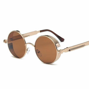 Gothic Steampunk Round Metal Sunglasses for Unisex - 6631 bronze f brown - Sunglasses