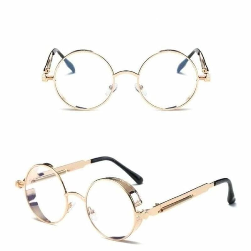 Gothic Steampunk Round Metal Sunglasses for Unisex - 6631 gold clear - Sunglasses