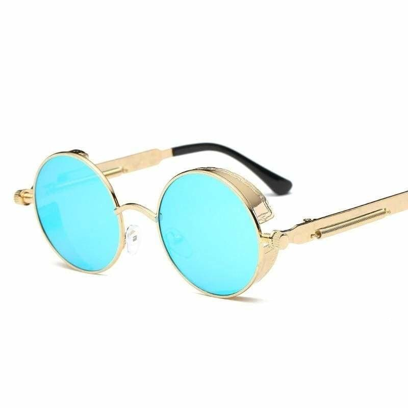 Gothic Steampunk Round Metal Sunglasses for Unisex - 6631 gold f blue - Sunglasses