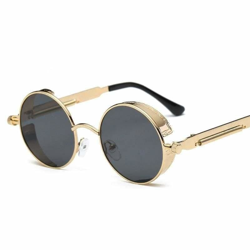Gothic Steampunk Round Metal Sunglasses for Unisex - 6631 gold f grey - Sunglasses