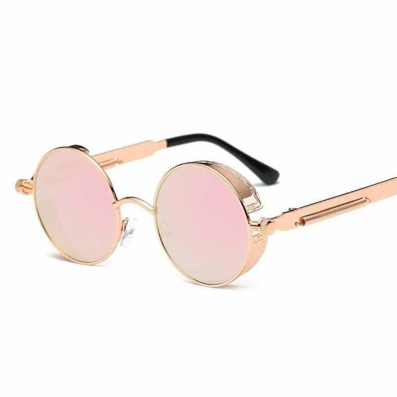 Gothic Steampunk Round Metal Sunglasses for Unisex - 6631 gold f pink - Sunglasses