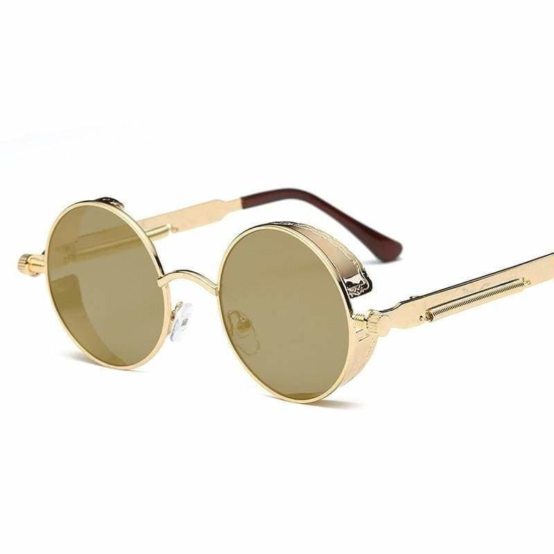 Gothic Steampunk Round Metal Sunglasses for Unisex - 6631 gold f gold - Sunglasses