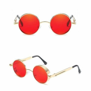 Gothic Steampunk Round Metal Sunglasses for Unisex - 6631 gold red - Sunglasses