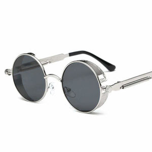 Gothic Steampunk Round Metal Sunglasses for Unisex - 6631 silver f grey - Sunglasses
