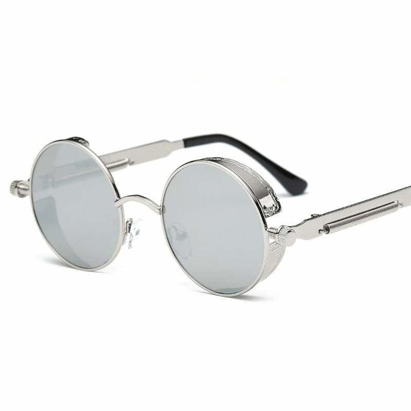 Gothic Steampunk Round Metal Sunglasses for Unisex - 6631 silver f sliver - Sunglasses