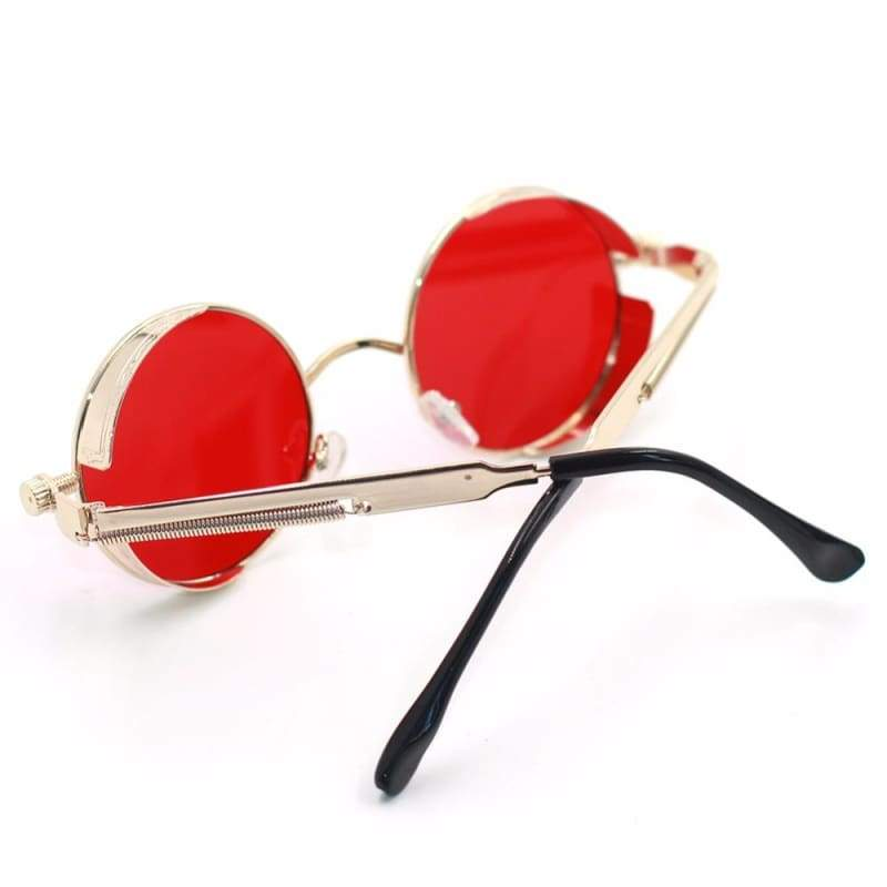 Gothic Steampunk Round Metal Sunglasses for Unisex - Sunglasses