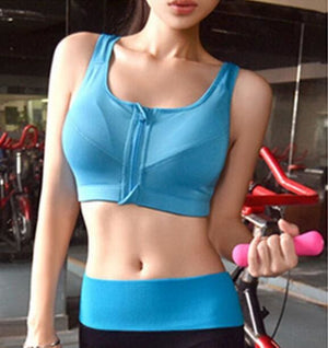 GYM zipper Adjustable Strap sports bra - Blue / S - Sports Bras