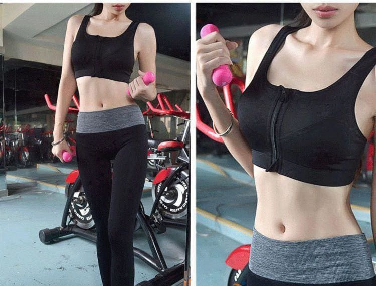 GYM zipper Adjustable Strap sports bra - Sports Bras