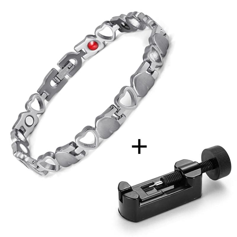 Heart Shape Magnetic Therapy Bracelet - silver with tool - Chain & Link Bracelets