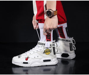 High-Top Sneakers Shoes Graffiti Buckle