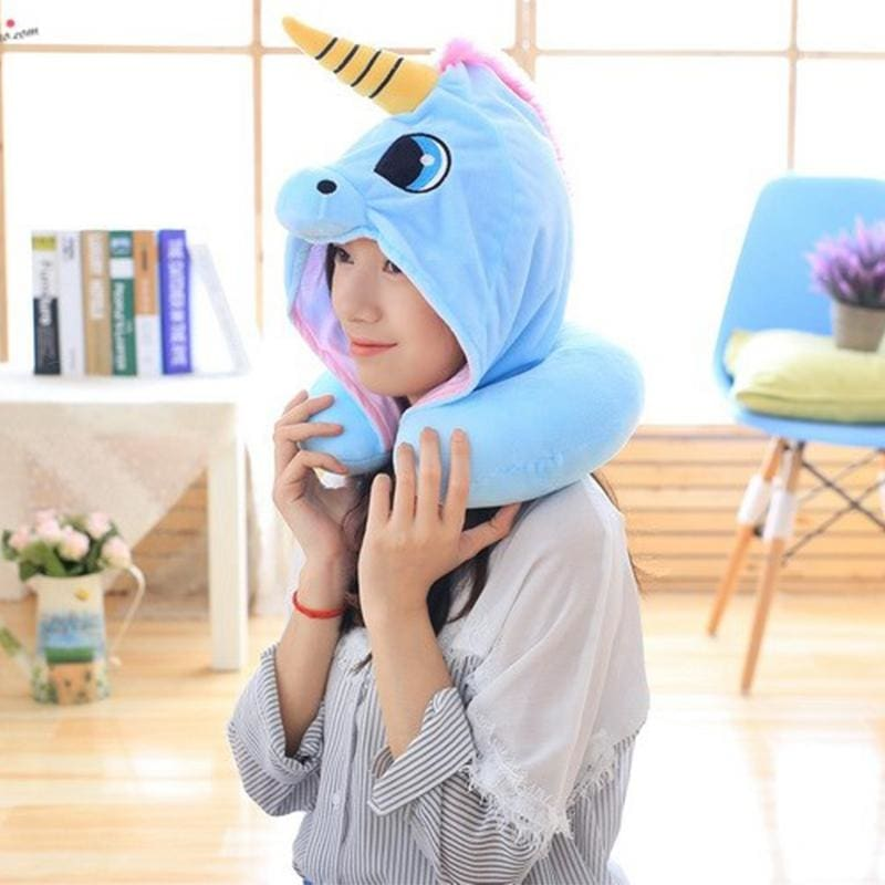 Hooded Unicorn Pillow for Travel - blue - Decorative Pillows