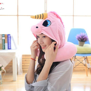 Hooded Unicorn Pillow for Travel - pink - Decorative Pillows