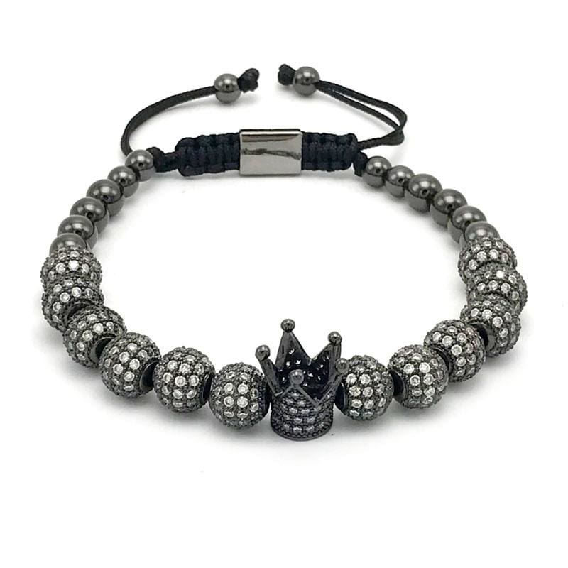 Imperial Crown Bracelet - Black Gun Plated - Strand Bracelets