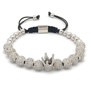 Imperial Crown Bracelet - Platinum Plated - Strand Bracelets