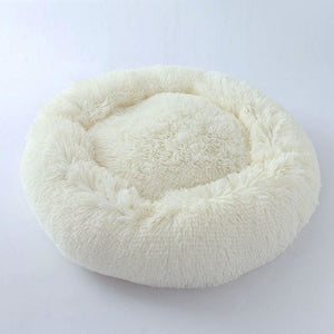 Kennel Round Plush Nest Bed - White / 60x60cm - Houses Kennels & Pens
