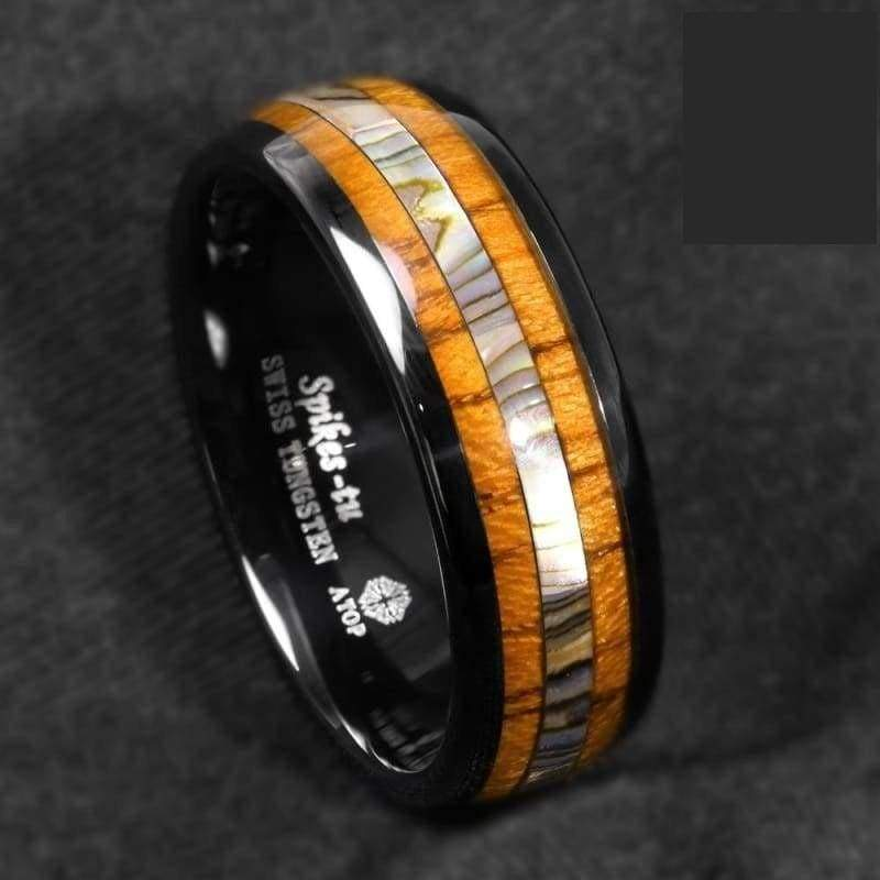 Koa Wood And Abalone Tungsten Ring - 6 - Wedding Bands