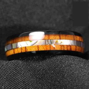 Koa Wood And Abalone Tungsten Ring - Wedding Bands