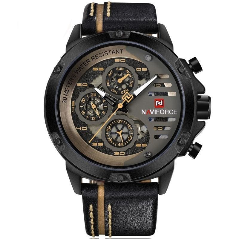 Leather Sports Wrist Watch for Men - Black Yellow - Quartz Watches