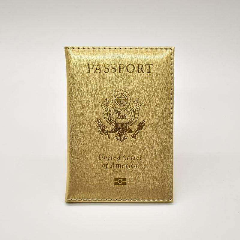 Leather USA passport holder - Gold - Card & ID Holders