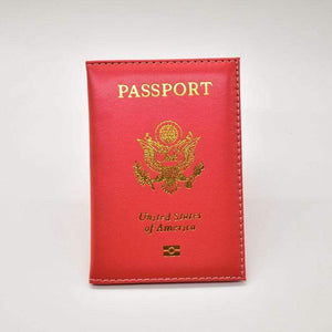 Leather USA passport holder - Red - Card & ID Holders