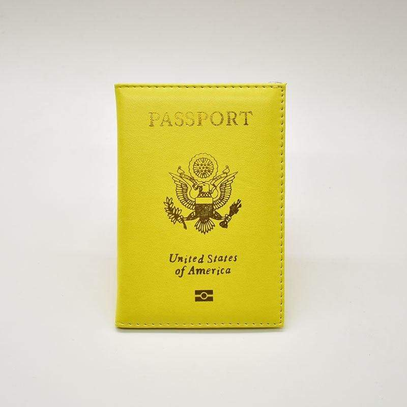 Leather USA passport holder - YELLOW - Card & ID Holders