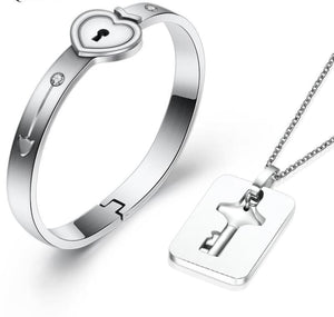Lock Love bracelet Jewelry Sets - Silver Plated - Jewelry Sets