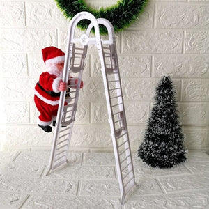 Lovely Musical Christmas Santa Claus , Electric Climb Ladder Hanging Decoration Christmas Tree Ornaments Funny New Year Kids Gifts