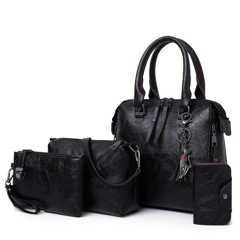 Luxury Leather Bag Set - Black / L25cmH23cmW12cm - Top-Handle Bags