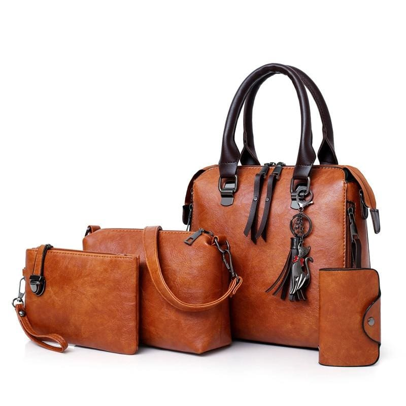 Luxury Leather Bag Set - Brown / L25cmH23cmW12cm - Top-Handle Bags