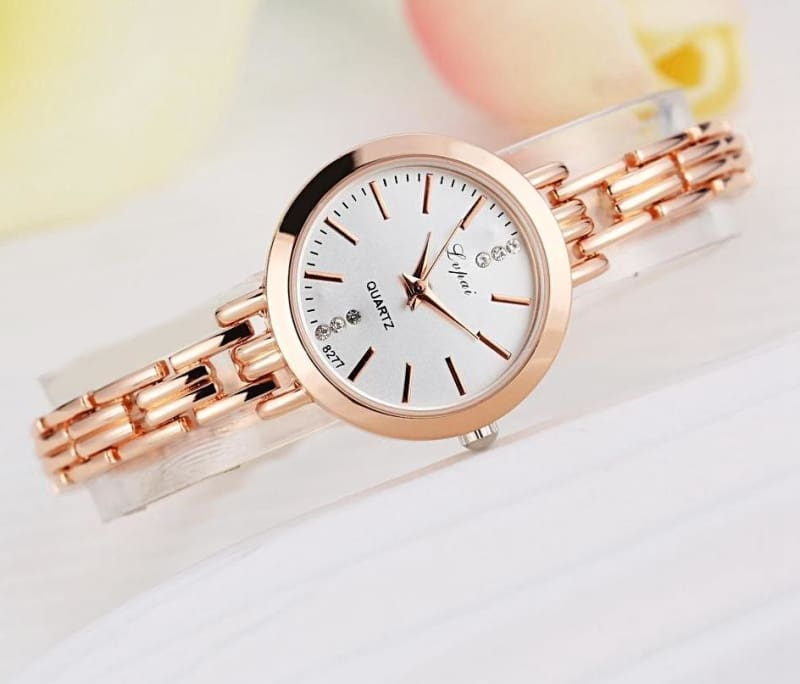Luxury Women Bracelet Watches - Rose Gold White - Womens Watches