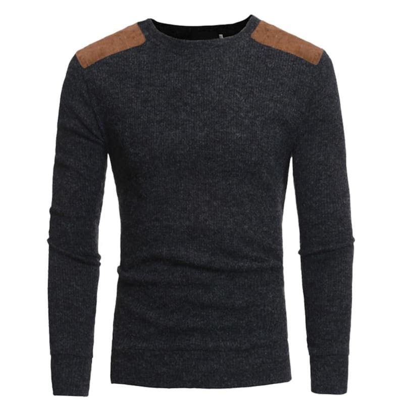 Mens Patchwork Sweaters Just For You - Dark Grey / L - Pullovers