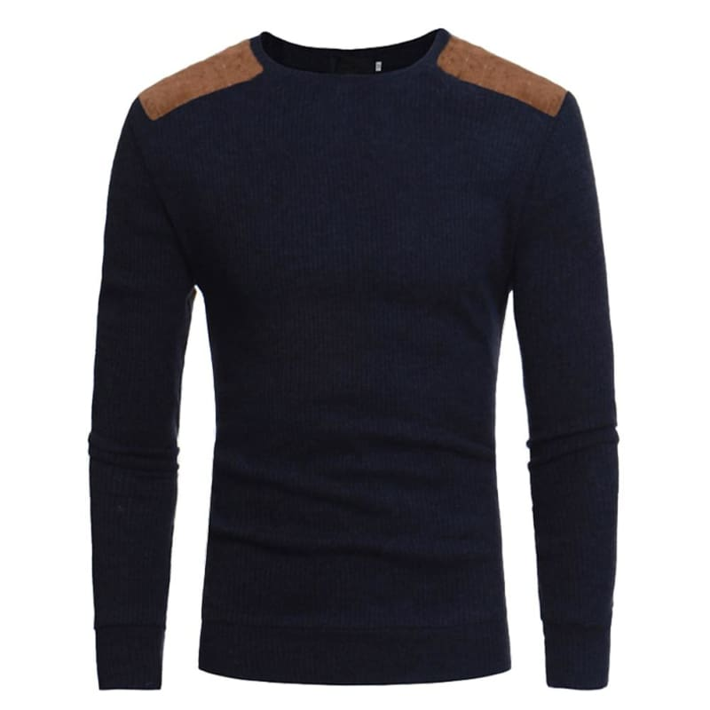 Mens Patchwork Sweaters Just For You - Navy Blue / XXXL - Pullovers