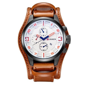 Military Sports Watch for Men - brown white - Quartz Watches