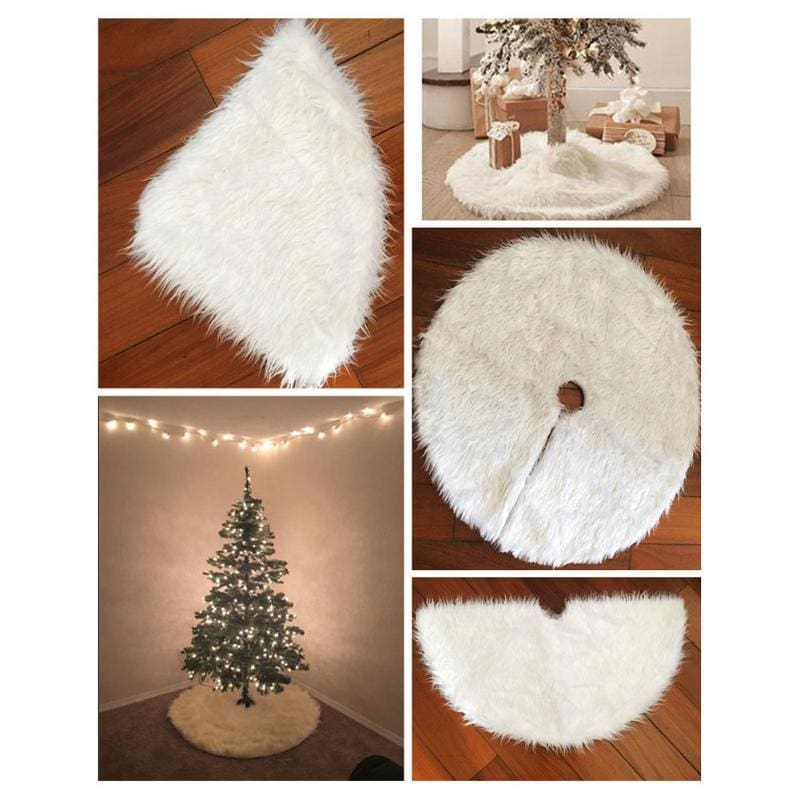 White Mini Christmas Faux Fur Tree Skirt Collar