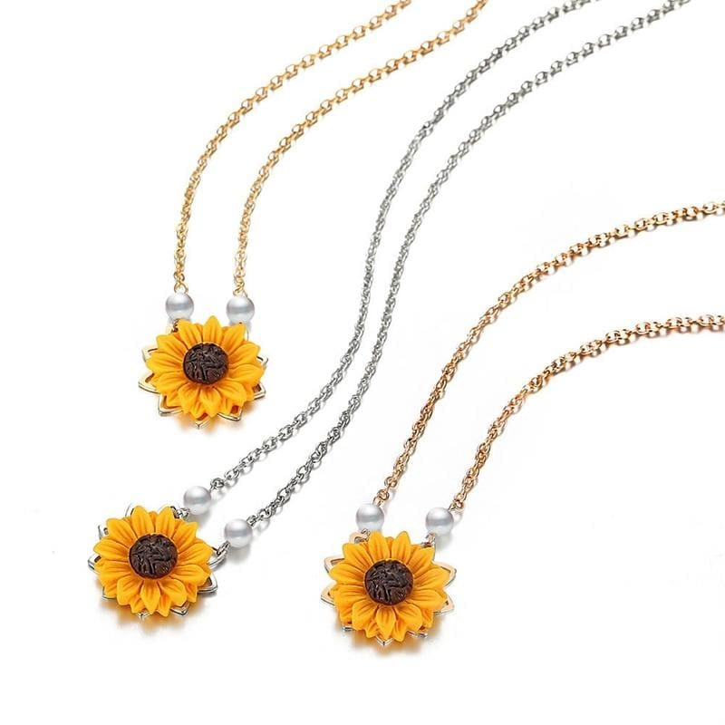 Mini Sunflower Pendant Necklace - Pendant Necklaces