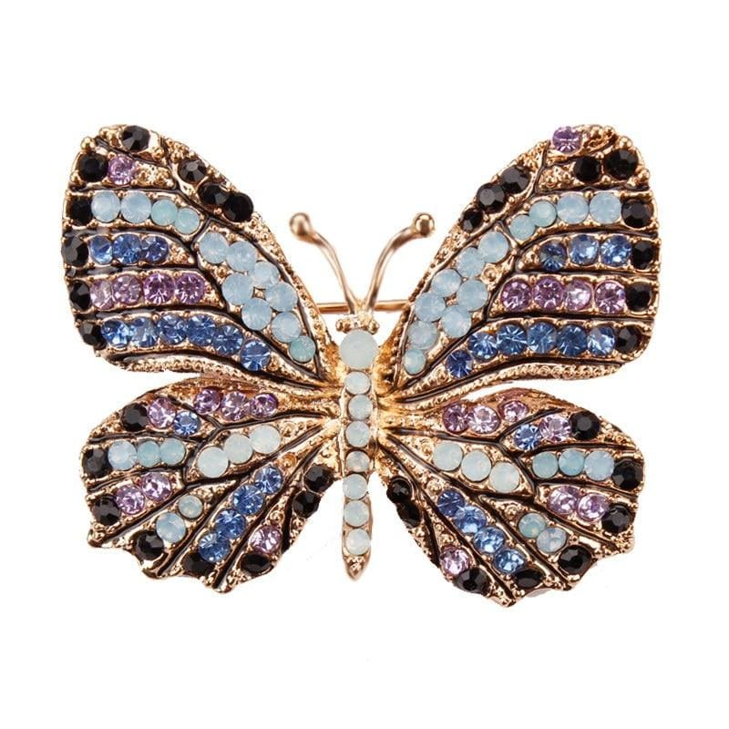 Multi-Color Crystal Butterfly Brooch Pin - color 1 - Brooches