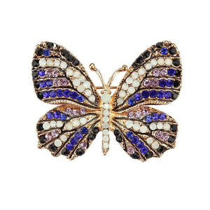 Multi-Color Crystal Butterfly Brooch Pin - color 10 - Brooches