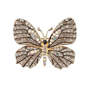 Multi-Color Crystal Butterfly Brooch Pin - color 11 - Brooches